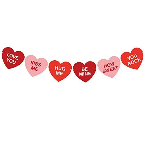 TUPARKA Valentinstag Girlande Konversation Herz Banner rot Rosa Herzform Design Romantisches Banner für Valentinstag Hause Party Dekoration