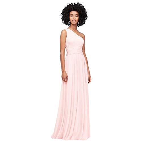 David's Bridal One-Shoulder Mesh Bridesmaid Dress with Full Skirt Style F19932, Petal, 0