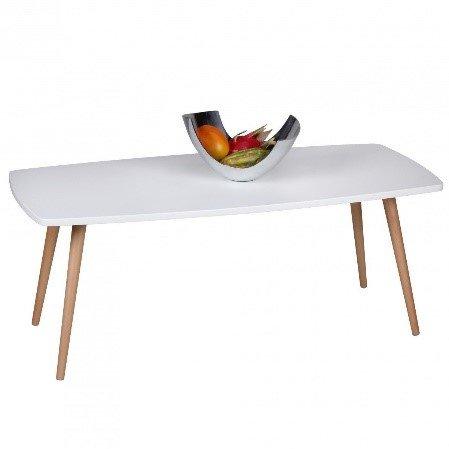 Snug Furniture - Scandi White Gloss & Beech Rectangular Coffee Table