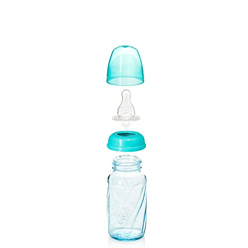 Evenflo Feeding Glass Premium Proflo Vented Plus Bottles for Baby, Infant and Newborn - Helps Reduce Colic - Teal, 4 Ounce (Pack of 6)