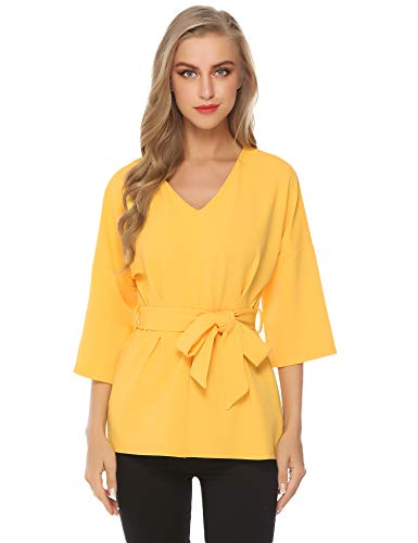 Abollria Camisa Elegante para Mujer con Manga 3/4 Blusa Cuello-V Casual Camiseta Suelto para Primavera Verano