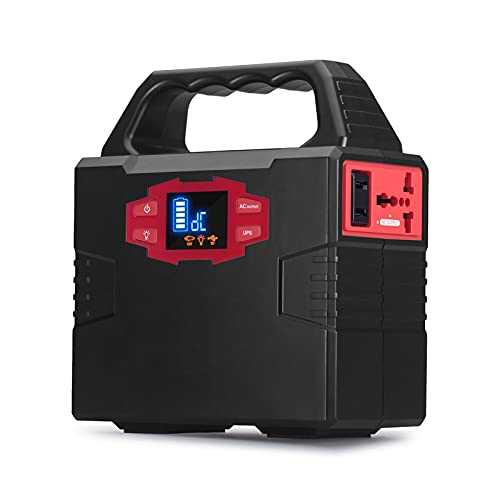 HBHBYNYN Central eléctrica portátil 150WH Generador Solar Batería de Litio Backup con 18 0W AC Generador de energía de Outlets for Acampar al Aire Libre RV Uso en el hogar Emergencia (Color : Black)