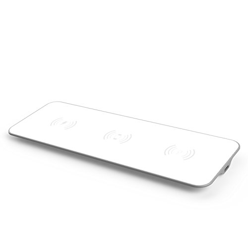 exelium XPAD31W Multi-caricabatterie 3 in 1 Wireless/Wireless Qi per telefoni cellulari abilitati al Qi e Apple Watch, 10W, bianco