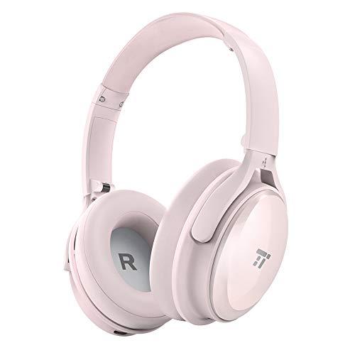 TaoTronics Casque Bluetooth à Réduction de Bruit Active, Casque Pliable sans Fil avec Étui Portable et Basses Puissantes Double Haut-Parleur 40 mm, Micro Intégré à CVC 6.0 Rose