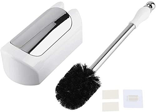 AOOF Cepillo de inodoro creativo de pared sin clavos para el hogar de baño especial de hotel y casa club de acero inoxidable cepillo de inodoro (blanco)