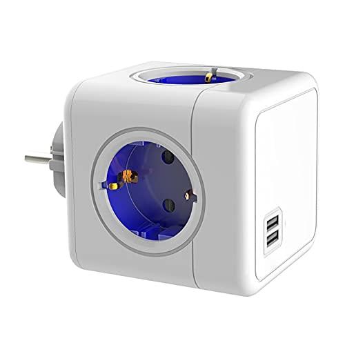 Protector contra sobretensiones Smart Power Strip Estilo Explosivo con USB Rubik'S Cube convertidor Cable extensión Multifuncional Power Strip para Oficina en casa(Azul)