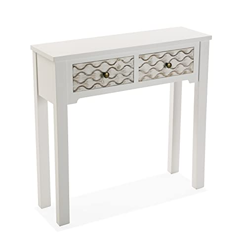 Versa Safira Mueble Recibidor Estrecho para la Entrada o el Pasillo, Mesa Consola, con 2 cajones, Medidas (Al x L x An) 79 x 25 x 80 cm, Madera, Color Blanco y marrón