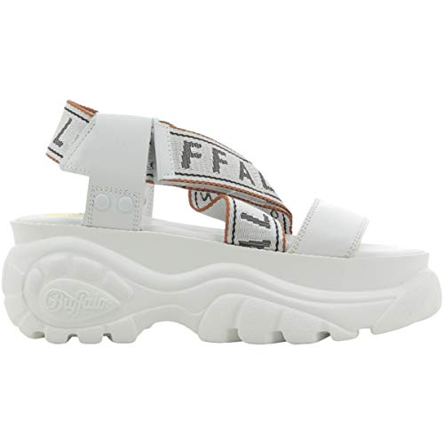 Buffalo Damen BO Plateau-Schuhe Sandalen Weiß 39 EU