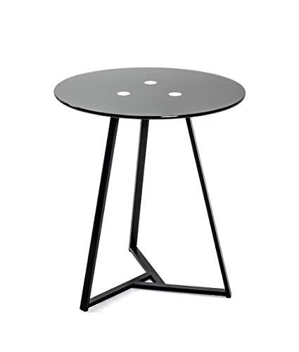 Haku-Möbel Mesa Auxiliar, Metal, Negro, H 50 cm Durchmesser 45 cm