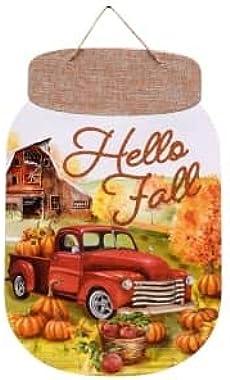 TLC Harvest Autumn Thanksgiving (Bonus Maple Leaves) Decorative Mason Jar Shaped (Hello Fall) Wall Sign 13.5x8.5in