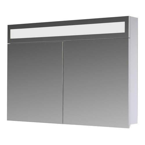 Eurosan 2-türiger Spiegelschrank, Superflache, Integrierte LED-Frontbeleuchtung, Breite 80 cm, Weiß, Paris, P80