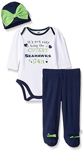 NFL Seattle Seahawks Baby-Girls Bodysuit, Pant, & Cap Set, Blue, 3-6 Months