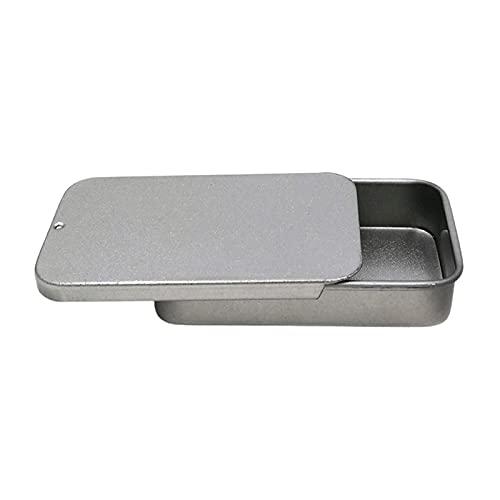 Caja de hojalata de metal con tapa, tapa deslizante de caja de hojalata, cajas de hojalata, contenedores para bálsamo labial, brillo de labios, manualidades, kit de almacenamiento, organizador para el
