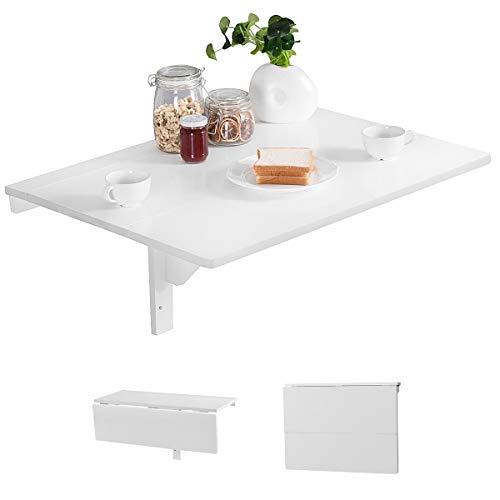 RELAX4LIFE Wandtisch klappbar, platzsparender Esstisch, Schreibtisch für Esszimmer & Studierzimmer, Stabiler Klapptisch Wandmontage, Wandklapptisch aus Holz bis zu 40 kg belastbar, 80 x 60cm (Weiß)