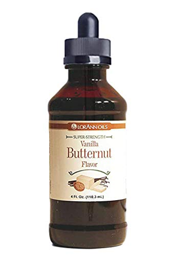 LorAnn Vanilla Butternut Super Strength Flavor, 4 ounce bottle - Includes a threaded Glass Dropper