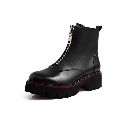 Schoenen Platform Laarzen Winter Voorkant Rits Casual Martin Laarzen Dik Met Joker Lage Jas Laarzen HAODAMAI