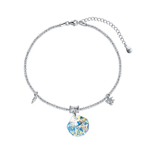 Shell Anklets for Women Sterling Silver Ankle Bracelets with Blue Crystals from Swarovski