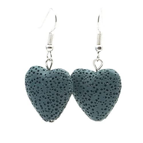 QWEQWE Aroma de Piedra Arete Esencial Difusor Pendientes Aromaterapia Joyería Minimalista Lava Rock Piedra Earings (Metal Color : Matted Blue)