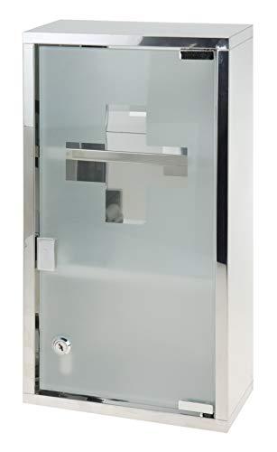 Medizinschrank Glas Silber 48x25x12 cm Badschrank Glasschrank Medikamentenschrank Apothekerschrank abschließbar