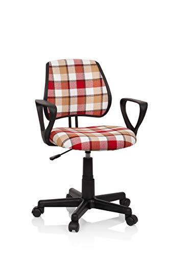 hjh OFFICE Lüllmann 725110 Kiddy CD Square - Silla de Escritorio Infantil (Respaldo de Altura Regulable), diseño de Cuadros, Color Rojo y Blanco