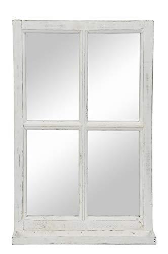 Posiwio Deko-Fenster Fensterrahmen mit Ablagebrett und Spiegel im Landhausstil Holz weiß Shabby ca.40 x 14 x 62 cm hoch