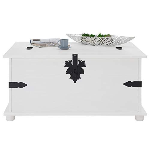 Mexico Möbel Truhentisch TEQUILA mit 5 Schubladen in weiß, 92x87x45cm - 6