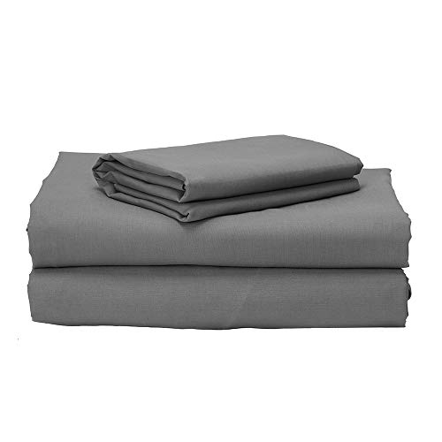 Pikolin Home sábanas 100% algodón de percal 200 hilos de primera calidad y elegante ribete a juego, 135 x 190/200 cm-Cama de 135 (Todas las medidas), Gris