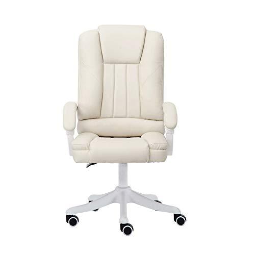 NXYJD Sedia ergonomica della sedia del computer della sedia a rotelle scorrevole di altezza dell'ufficio con il poggiapiedi (Color : White)