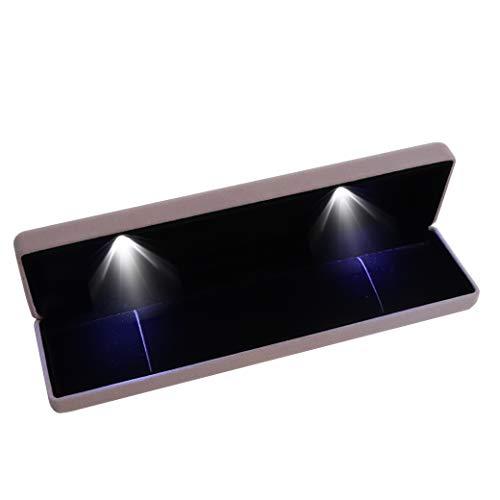 BLU-DAMOND Halsketten-Box aus edlem Samt | Designer Schmuck-Kästchen mit LED-Beleuchtung | zertifizierte Qualität | Etui für Verlobung Hochzeit Valentinstag Geschenk Jubiläum (grau)