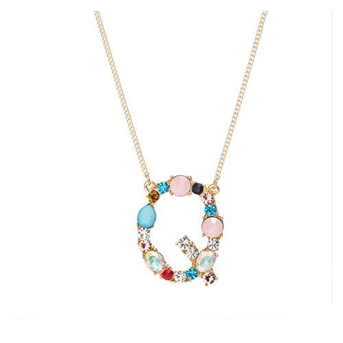 Collar delicado para mujer Collar para Mujeres, Colgante de la letra de la aleación de cristal, Moda Simple Girls Jewelry Cubic Zirconia Regalos para la esposa Mamá Día de aniversario de cumpleaños