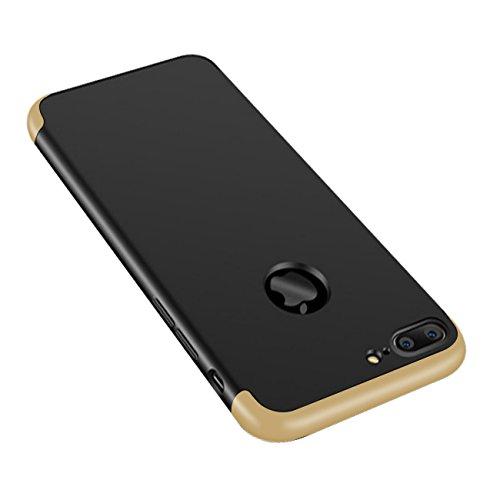 Funda para iPhone 7 Plus, ultrafina, ligera, antigolpes, antihuellas, carcasa rígida Oro negro y dorado. Talla única