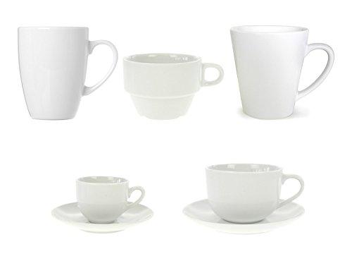 Kaffeebecher Kaffeetassen Espressotassen Porzellan Weiß 6 Stück Set Modellauswahl, Modell:280 ml Kaffeebecher