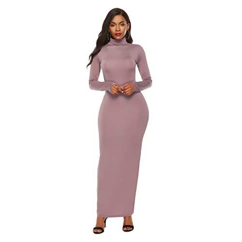 GreatestPAK Stretch Long High Neck Kleid Womens Casual Solid Long Sleeves Slim Long Skirt,Khaki,Etiketten:4XL(Büste:112-122cm)