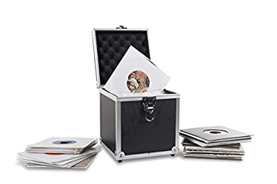 "Acc-Sees Pro Vinyl 45 Carry Case - Vinyl Record Storage Box - Black - Holds 50 x 7"" Singles – Lightweight and Robust – Fully Lined and Padded Interior"