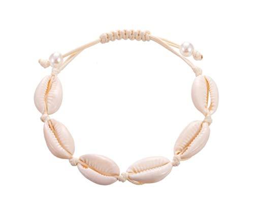 Muschel Armband für Damen Frauen | Verstellbar im Bohemia Indi Style | Auch als Fußkette | Shell Armkette Muschel-Armband | Echte Muscheln (Hellbraun)