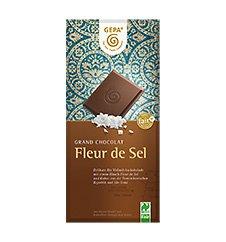 GEPA Bio Grand Chocolat Fleur de Sel mit 37% Kakao Flachtafel Vollmilch-Schokolade 1 Karton (10 x 100g)