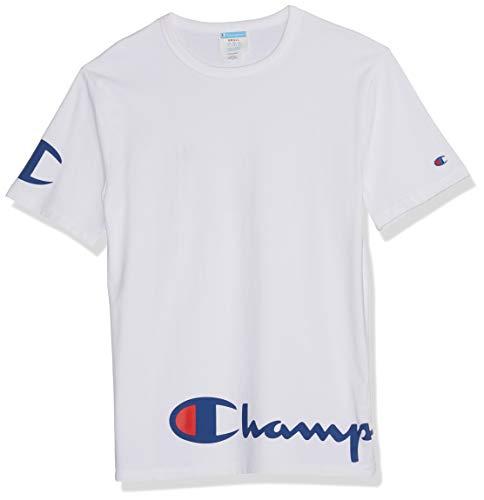 Champion Life Herren Heritage Tee T-Shirt, Weiß mit Umschlagskript, X-Klein