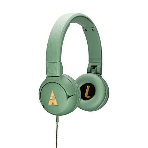 POGS Kopfhörer Kinder mit Kabel - The Elephant - Faltbare und Biegsame Kopfhörer mit Lautstärkeregler & Mikrofon - Musik-Sharing Funktion - Kinderkopfhörer ab 5 Jahre - Aux-Kabel (Grün- Kabel)