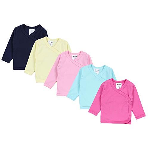 TupTam Baby Mädchen Langarm Wickelshirt Baumwolle 5er Set, Farbe: Mehrfarbig 4, Größe: 50