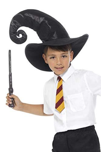 Halloween! Smiffys Zauberer-Set, Schwarz, mit Krawatte, Hut und Zauberstab, 34cm/13in