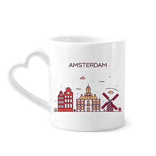 DIYthinker Amsterdam Flat Landmark Koffie Mokken Aardewerk Keramische Beker Met Hart Handvat 12oz Gift