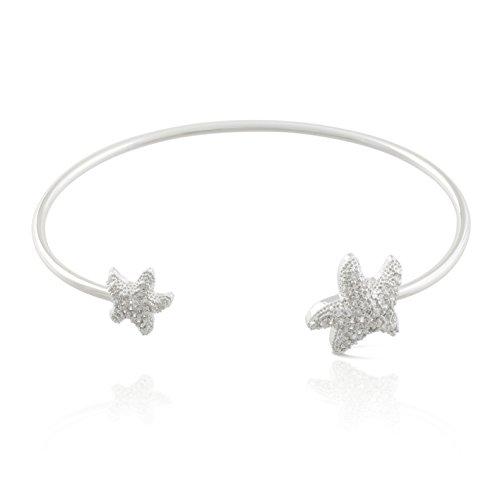 JanKuo Jewelry Silver Plated Cubic Zirconia Pave Starfish Bangle Bracelet.