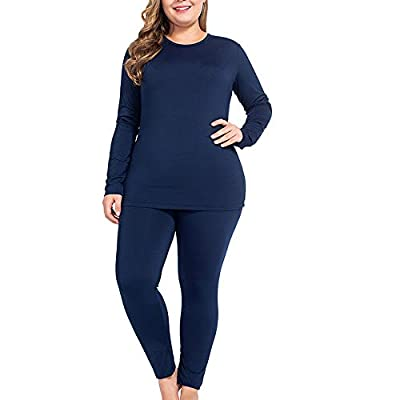 NUONITA Thermal Underwear for Women Long Johns Set Plus Size Fleece Lined Ultra Soft?XL?Navy Blue?