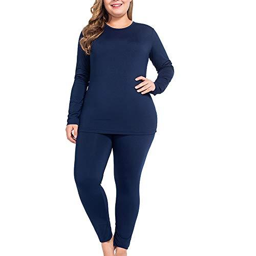 NUONITA Thermal Underwear for Women Long Johns Set Plus Size Fleece Lined Ultra Soft(XXXL,Navy Blue)