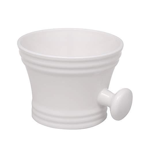 Anself Kunststoff Rasierseifenschale Shaving Bowl mit Griff, weiß