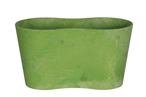 Artstone Pflanzgefäß Pflanzkübel duo Claire, frostbeständig und leichtgewichtig, Limegrün, 26x13x14cm