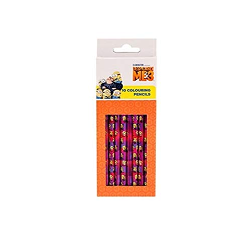TrendyMaker Minions Schulset, Schreibset - 10 STK. Buntstifte, Farbstifte in 10 Farben (passend für Schultüte, Schulranzen, Federmappe und als Mitgebsel für Partytüten)