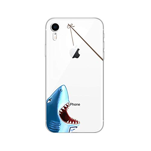 iPhone XR Case,Blingy's New Ocean Animal Style Transparent Clear Soft TPU Protective Case Compatible for iPhone XR (Shark)