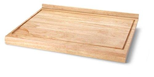Continenta Nudelbrett aus Gummibaumholz, Backbrett, Arbeitsbrett mit Anschlagleiste und Flüssigkeits-Rille, Größe: 62 x 46,5 x 4,5 cm