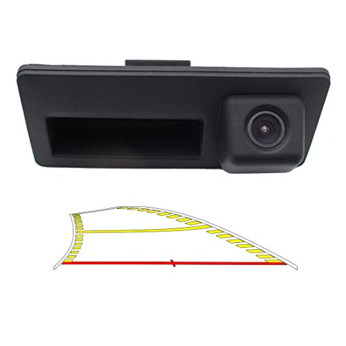 Vehicle Backup Camera with Dynamic Intelligent Trajectory Moving Guide Line for Audi A4L A5 A3 Q3 Q5 RS6 for VW Passat Tiguan Jetta Sharan Touareg Lavida Skoda, Car Rear View Trunk Handle Camera